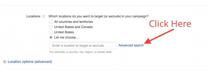set geographic region for adwords campaign