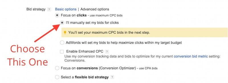 setting manual bids for clicks