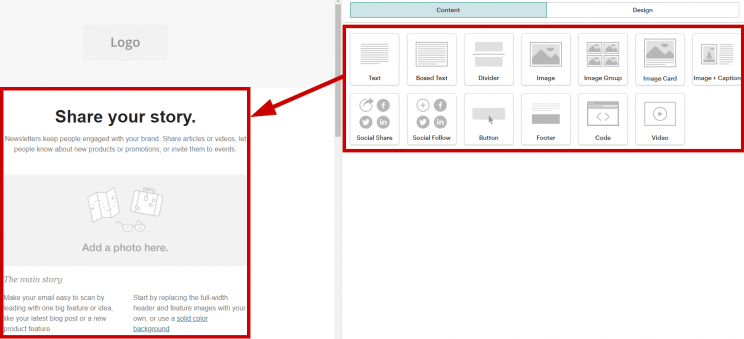 Mailchimp Drag and Drop Feature