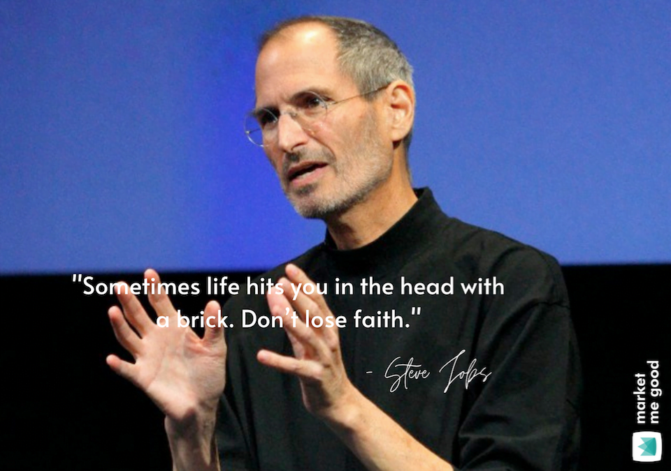 Steve Jobs talking with a quote and a brand logo