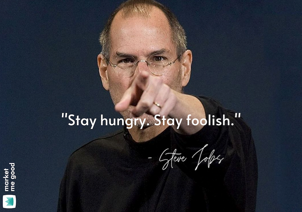 Steve Jobs pointing a finger with a quote and a brand logo