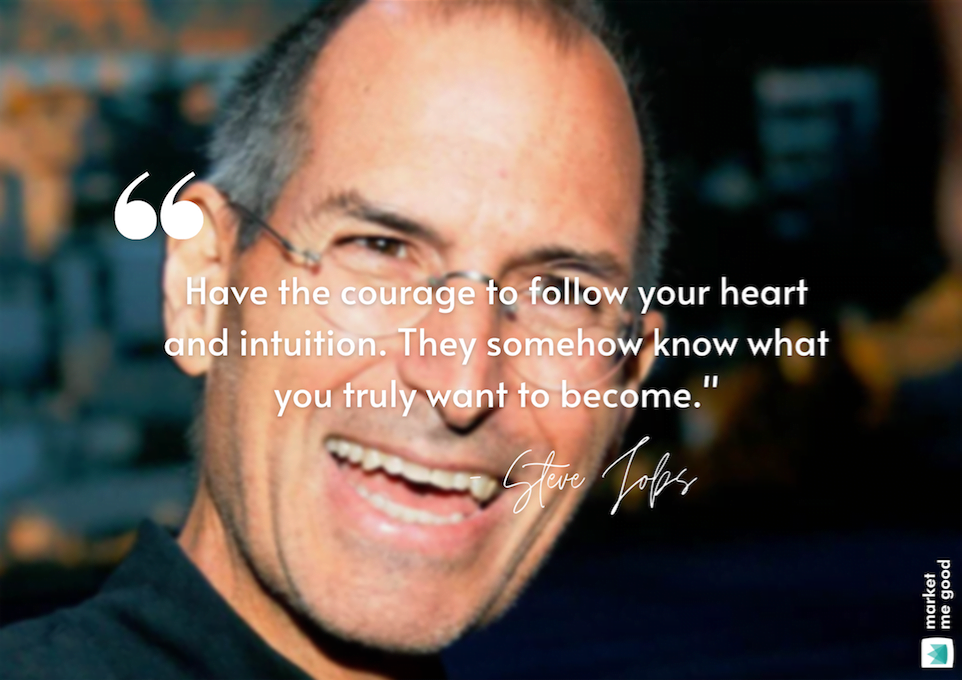 Smiling Steve Jobs with a quote and a brand logo