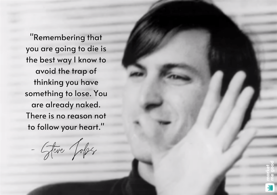 Young Steve Jobs with a quote and a brand logo