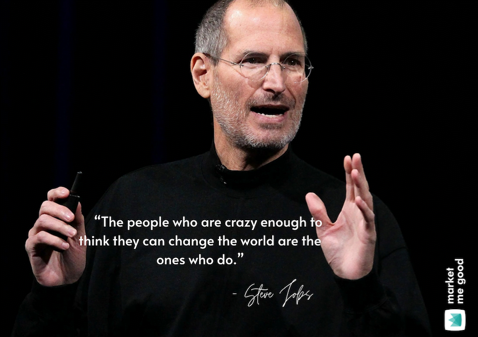 Steve Jobs with a quote and a brand logo